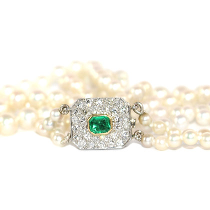 Art Deco Emerald Diamond Clasp