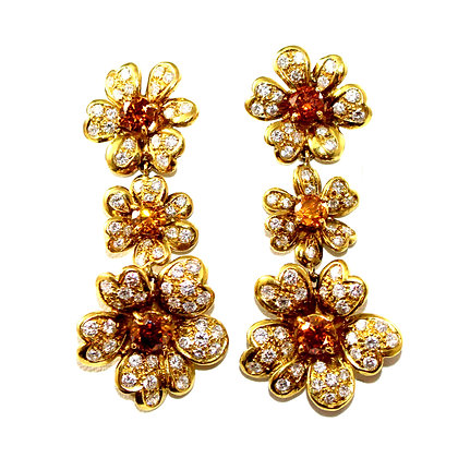 Orange Diamond and Diamond Flower Drop Earrings c.1970