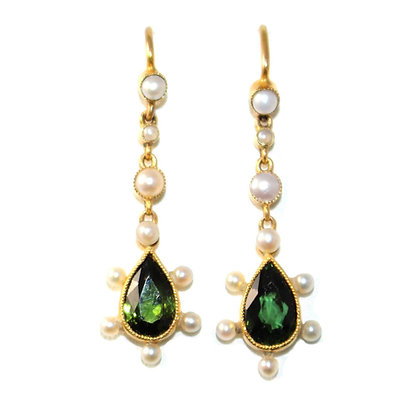 Victorian Tourmaline and Pearl Drop Earrings c.1890