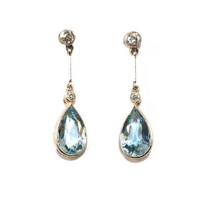 Art Deco Aquamarine & Diamond Earrings