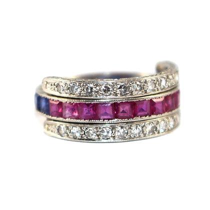 Art Deco Sapphire, Ruby and Diamond Flip Eternity Ring c. 1930 size M