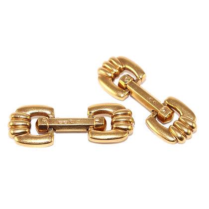 Art Deco Gold Fancy Link Cufflinks French c.1940