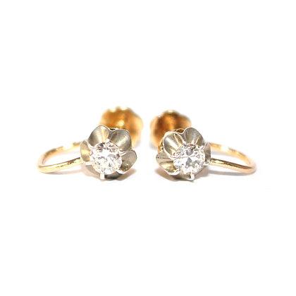 Antique Diamond Screw Fitting Stud Earrings