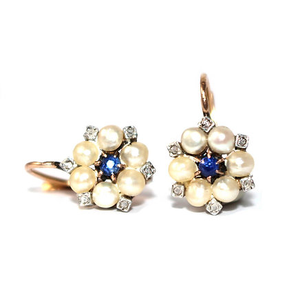 Edwardian French Pearl and Sapphire Flower Earrings c.1910