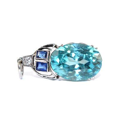 Art Deco Blue Zircon Pendant