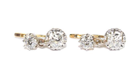 Antique Dormeuse Diamond Earrings
