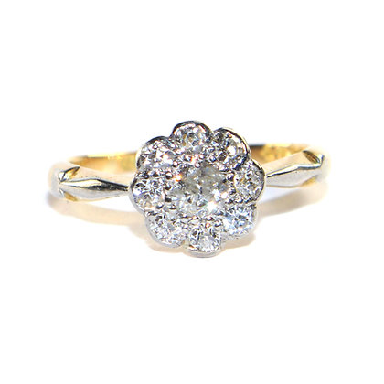 Edwardian Diamond Cluster Ring c.1920