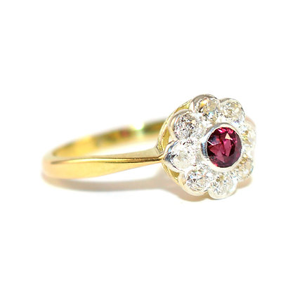 Edwardian Ruby and Diamond Halo Ring