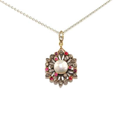 Victorian Pearl, Ruby and Diamond Pendant