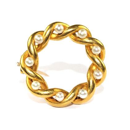 Edwardian Gold Circle Brooch