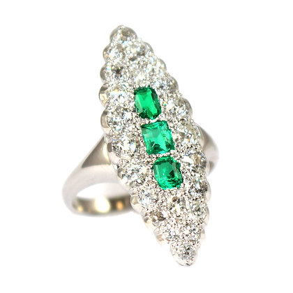 Navette Emerald & Diamond Ring