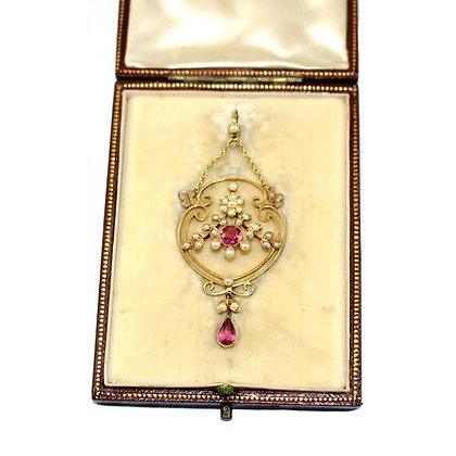 Art Nouveau Pink Tourmaline Pendant