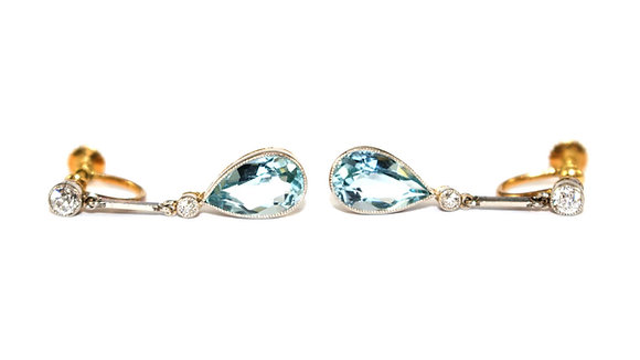 Edwardian Aquamarine & Diamond Earrings
