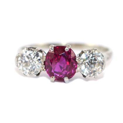Art Deco Ruby Diamond Trilogy Ring