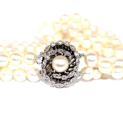 Long Double Row Cultured Pearls, Diamond & Pearl Swirl Clasp c.1950