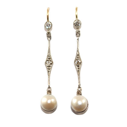 Edwardian Pearl and Diamond Drop Earrings c.1920