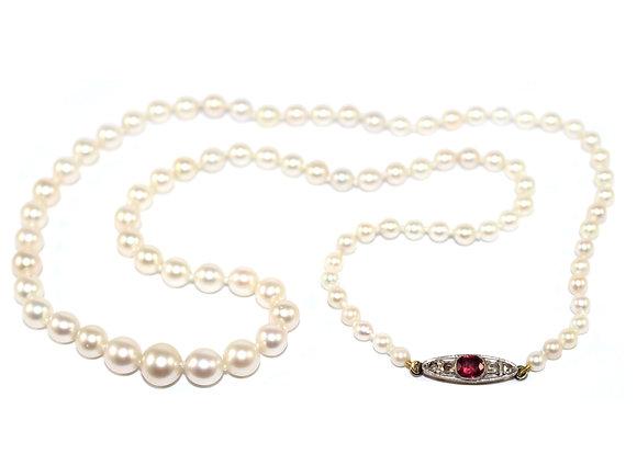 Art Deco Pearl Necklace, Ruby & Diamond clasp