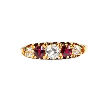 Victorian Ruby & Diamond 5 Stone Ring c.1899