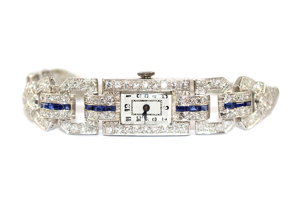 Art Deco Diamond and Sapphire Cocktail watch