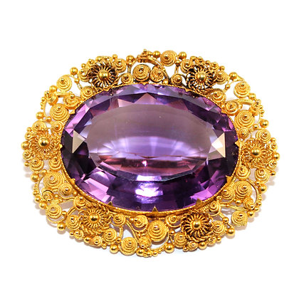 Georgian Amethyst Brooch