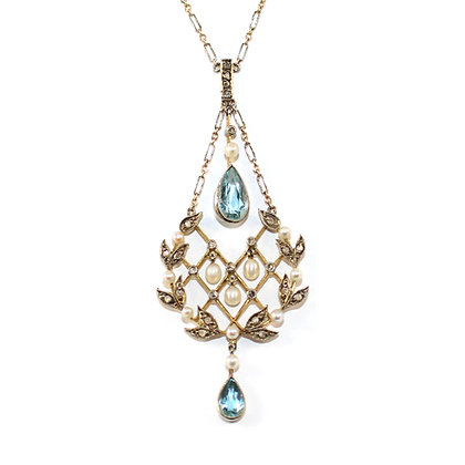 Edwardian Aquamarine and Diamond Necklace c.1915