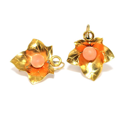 Victorian Coral Ivy Earrings