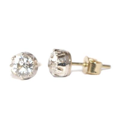 Victorian Old Cut Diamond Stud Earrings c.1890