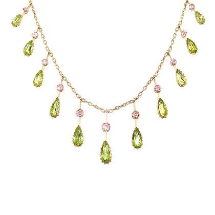 Edwardian Pink Topaz Peridot Necklace