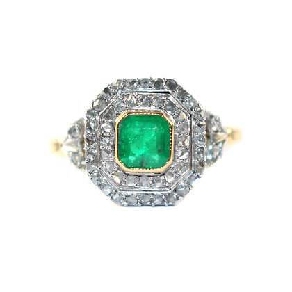 Victorian Emerald & Diamond Cluster Ring - French c.1900