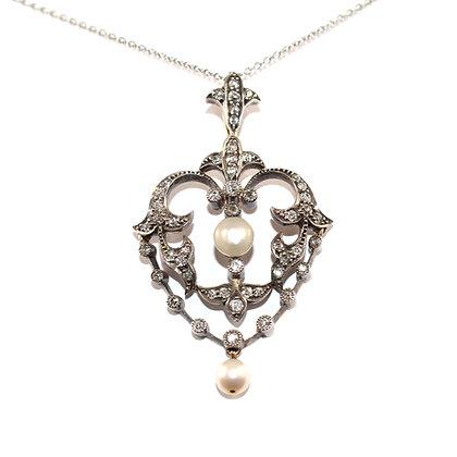 Victorian Diamond & Pearl Brooch/Pendant