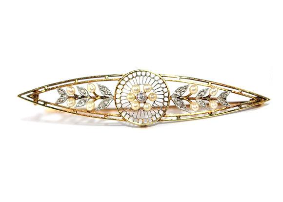 Edwardian Pearl Diamond Lozenge Brooch c.1910