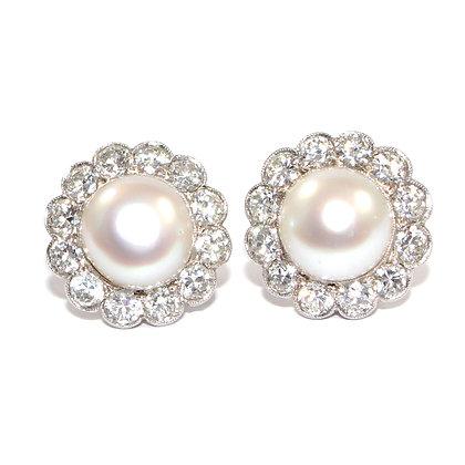 Art Deco Pearl and Diamond Earrings