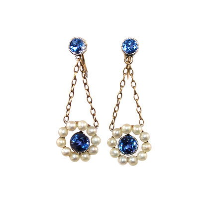 Edwardian Sapphire & Pearl Drop earrings c.1910