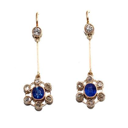 Edwardian Sapphire and Rose-cut Diamond Drop Earrings c.1910