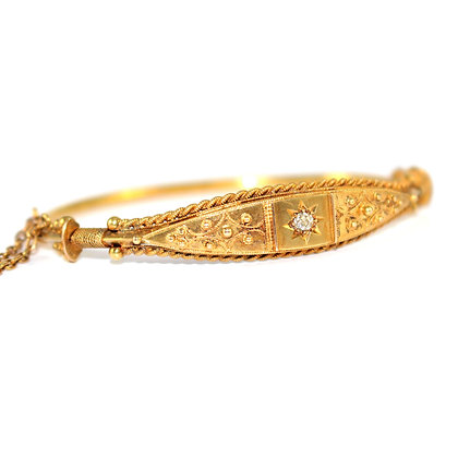 Victorian Etruscan Diamond Bangle