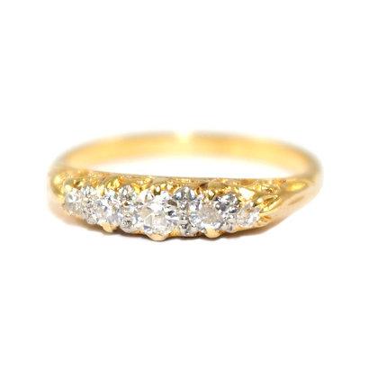 Edwardian Diamond 5 stone Carved Half Hoop Ring