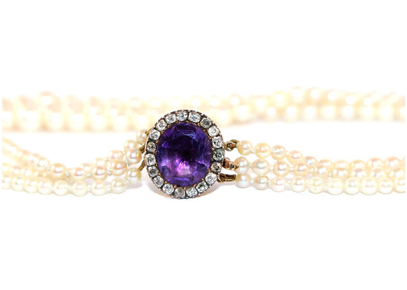 Georgian Amethyst & Diamond clasp