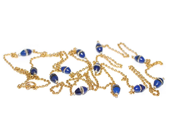 Art Deco Lapis Chain