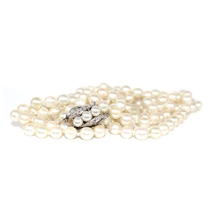 Long Double Row Cultured Pearls, Diamond & Pearl Clasp c.1950