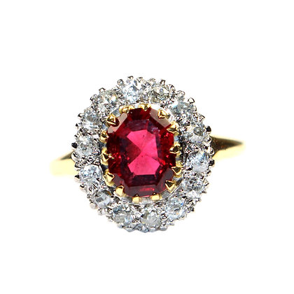 Art Deco Spinel & Diamond Ring