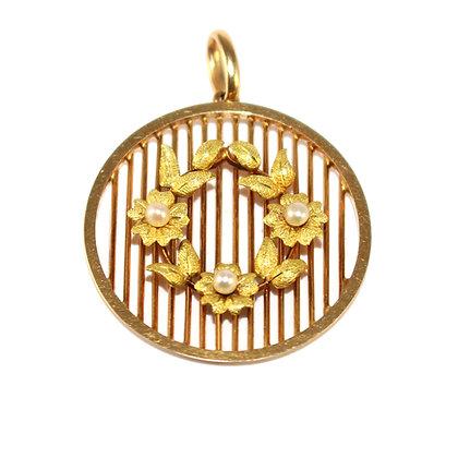Edwardian Gold & Pearl Circular Pendant c.1910