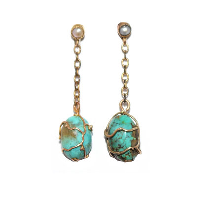 Art Nouveau Turquoise Earrings Murrle Bennett
