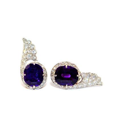 Art Deco Amethyst and Diamond Earrings