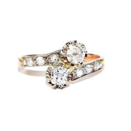 Antique diamond toi et moi ring