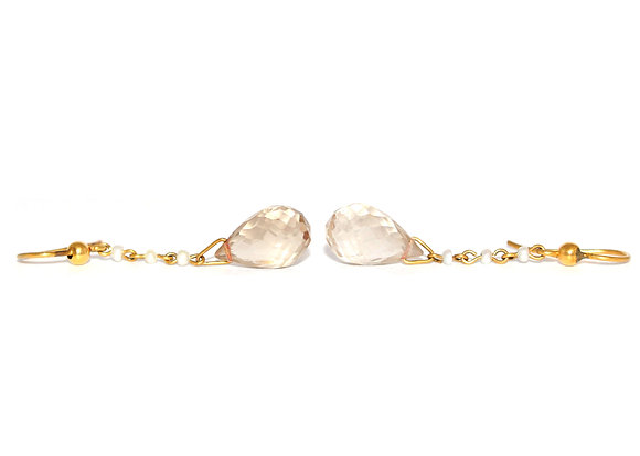 Victorian Briolette Pale Citrine and Pearl Drop Earrings c.1900