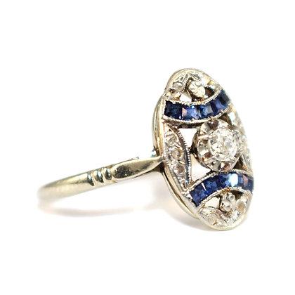 Art Deco Sapphire Diamond Ring c.1930