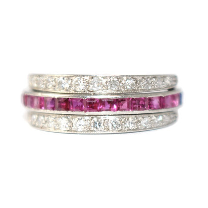 Art Deco Sapphire, Ruby and Diamond Flip Eternity Ring c. 1935 size L 1/2