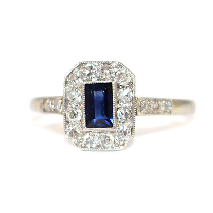 Art Deco Small Sapphire Tablet Ring c.1930