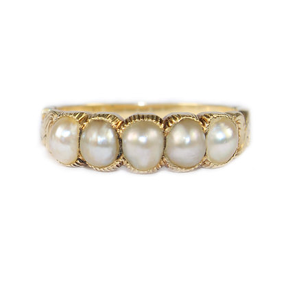 Regency Pearl 5 Stone Ring
