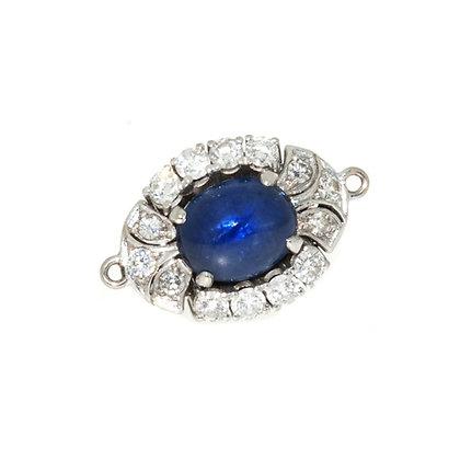 Mid Century Cabochon Sapphire and Diamond Clasp c.1950